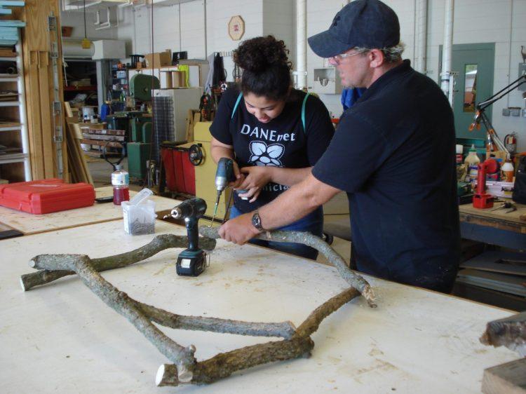 Gloria and Brian make a weaving frame