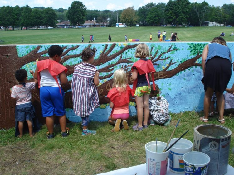 MSCR campers at Warner Park paint a mural