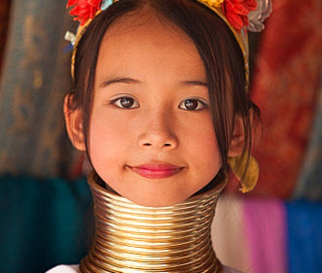 Long Necked Girl With Neck Rings Belonging To Padaung Tribe Thailand