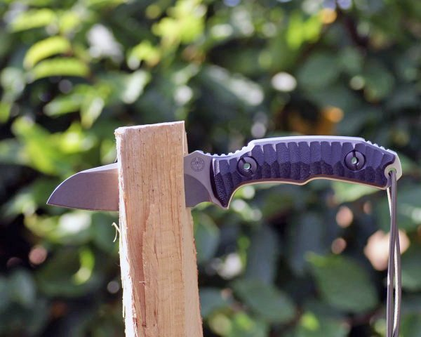 batoning wood with a survival knife