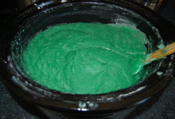 the look of hot process soap batter before adding fragrance oil