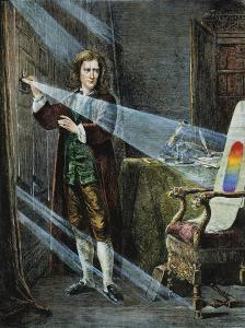 An illustration by Granger, depicting a young Sir Isaac Newton experimenting with the passage of light through a prism.