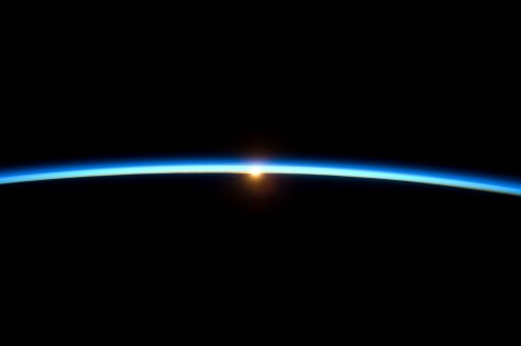 A NASA picture showing the sunset seen from the edge of the Earth atmosphere.