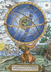 A classical illustration showing the giant Atlas carrying the celestial spheres on his shoulders.