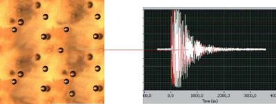 Two pictures detailing a bubble explosion, as recorded in the lab.