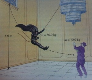 """An image from James Kakalios' books of The Physics of Superheroes, featuring Batman and The Joker getting """"physical""""."""