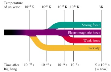 A diagram showing how the four fundamental forces - the strong force, the electromagnetic force, the weak force and the force of gravity - were one single unified force at the very beginning of the Universe.