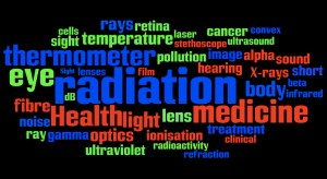 "A wordle or ""word cloud"" gathering different types of radiation and their applied uses in health and medicine."