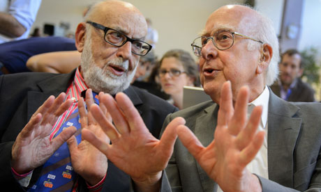 A historical photograph showing Belgium physicist Francois Englert in conversation with British physicist Peter Higgs - the discoverers of the Higgs boson.