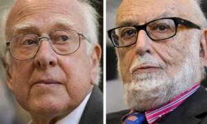 Two photographs showing the scientists who theorized the Higgs boson particle: Peter Higgs and François Englert.