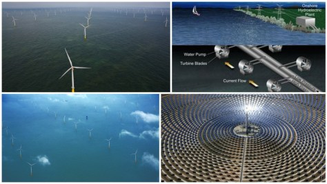 A photographic collage showing the London Array, the Gemasolar power plant and a potential example of onshore hydroelectric generation. Image: NaturPhilosophie