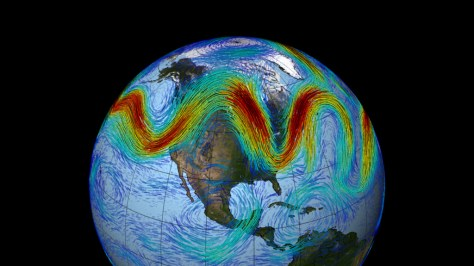 A picture showing the location of the Earth's jet streams taken by NASA's Cassini space probe.