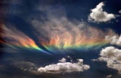 A photograph showing an earthquake light - a rainbow cloud, taken in May 2008, in the region of Sichuan, China.