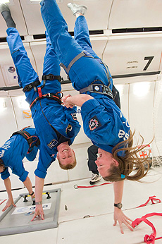 A photograph of Tim Peake training for zero gravity aboard the Airbus plane in parabolic flight.