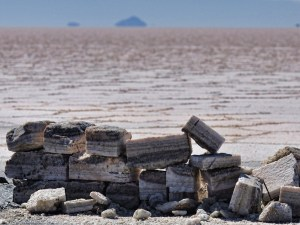 A photograph showing a view of the desert with a pile of salt bricks at the forefront.