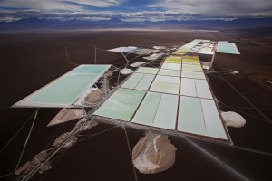 An aerial photograph showing a lithium mine in the Andes, at Atacama, Chile.