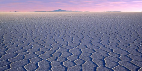 A photograph showing the great salt lake plain at Uyuni in the Lithium Triangle, in South America.