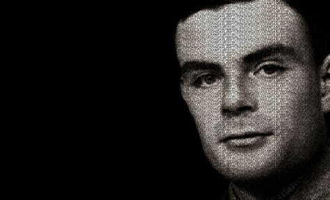 A black and white portrait of Alan Turing - the man behind the Enigma decryption.