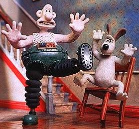 "A photograph from the Wallace and Gromit movie, ""The Wrong Trousers""."