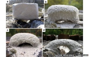 Four photographs of the experiment with artificially eroded sandstone.