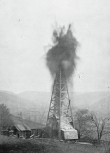 An old black and white photograph showing the very first natural gas well, in Fredonia, New York.