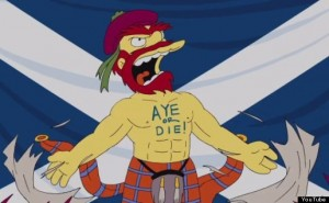 """A picture from the American show """"The Simpsons"""" - Groundskeeper Willie on Scottish Independence: """"Aye or Die!"""""""