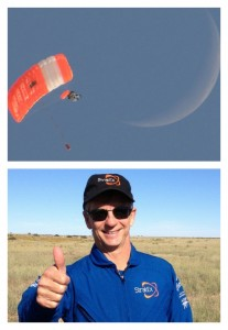 A photograph showing Alan Eustace completing his record-breaking space jump.