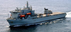 A photograph showing the RFA Argus Hospital Ship.