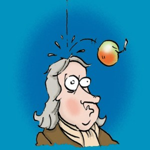 A humoristic cartoon showing Isaac Newton being hit on the head by a falling apple. Source: Science Museum