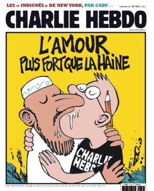 "The front cover of a Charlie Hebdo issue. The headline reads: ""L'Amour - Plus Fort Que La Haine"" (Love - Stronger than Hatred)."
