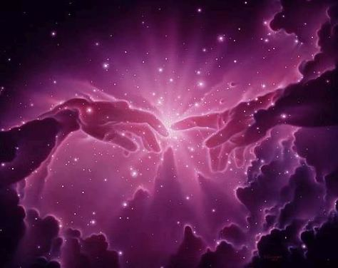 An artist's impression showing two hands touching on a cloudy night sky background, inspired by Michelangelo's famous scene of Genesis on the frescoed ceiling of the Sistine Chapel in the Vatican. The moment of Earth creation?