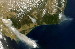 A satellite image showing the plume of smoke over Victoria during the 2009 Black Saturday Bushfires.
