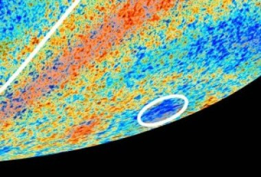 """A picture of Planck's anomalous sky, the hemispheric asymmetry and the """"cold spot""""."""