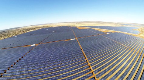 A photograph showing the solar photovoltaic panels of the Kimberley project in South Africa.