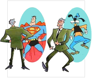 A humoristic cartoon demonstrating the Dunning-Kruger effect of illusory superiority. A man looks at his reflection in a mirror: he sees himself as Superman. We then see the same man walking away from the mirror: his reflection is no longer that of Superman, but of the Disney character, Goofy.