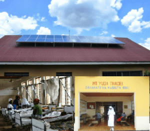A photograph showing how solar panels can be used to power a remote dispensary/hospital in Tanzania.