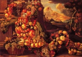 "A painting by Giuseppe Arcimboldo - ""Summer"" representing a man entirely made of seasonal fruit and vegetables."