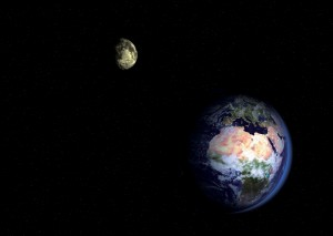 A picture showing the Earth-Moon binary system.