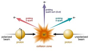 A diagram explaining how bosons, and other sub-atomic particles, are created as a result of the collision of two proton beams - one polarized, the other unpolarized.
