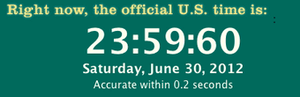 "A computer screen capture showing the 2012 leap second. It reads as follows: ""Right now, the official U.S. time is: 23:59:60 Saturday, June 30, 2012 Accurate within 0.2 seconds""."