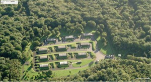 An aerial photograph showing the location of Badgers Mount ammunition storage dump, in England.