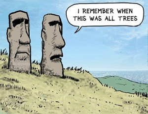 """A humoristic cartoon of Easter Island Maui Sculptures. Two Easter Island Maui head sculptures reminisce: """"I remember when this was all trees""""."""