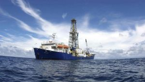 A photograph of the IODP Research Vessel - Joides Resolution at sea.