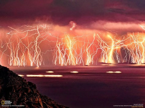 A photograph showing the intense lightning at Catatumbo in Venezuela. National Geographic Magazine