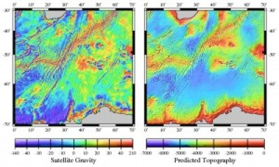 The left map of the SW Indian Ridge shows Actual Gravity data measured by satellite. And on the right, is a map of the the Predicted Topography at this location.
