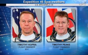 Expedition 46 Spacewalkers infographic showing the portraits of Timothy Kopra - Flight Engineer EV1 and Timothy Peake - Flight Engineer EV2, in front of their respective countries flags - U.S.A. and United Kingdom.