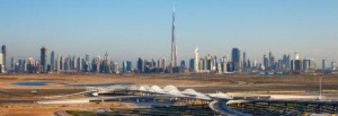 A photograph of the Dubai skyline in the United Arab Emirates.