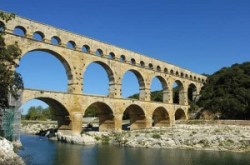 A photograph of the pont du Gard in southern France - a 2,000 year old Roman aqueduct which is still standing to this day.