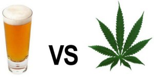 An infographic comparing a pint of lager versus a cannabis leaf.