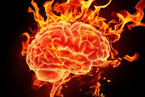 An artwork depicting a brain in flames - The Inflamed Mind.